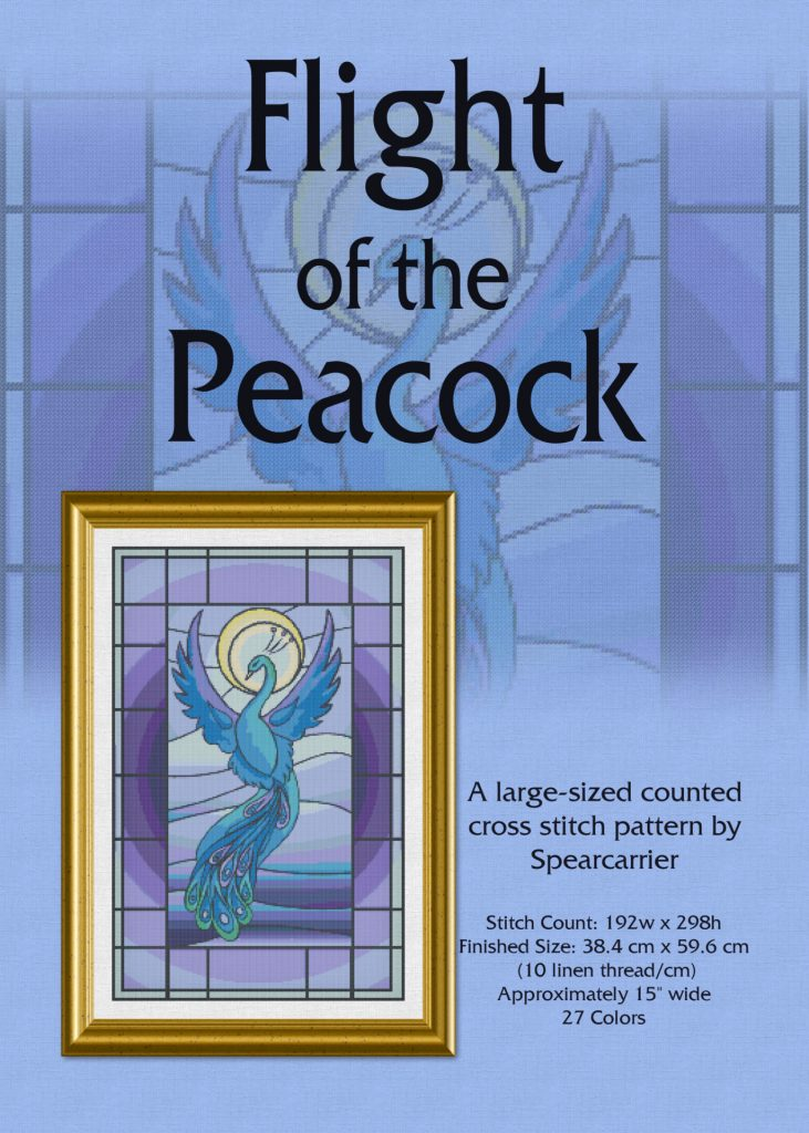 Flight of the Peacock cross stitch pattern PDF