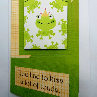 Handmade bachelor bachelorette enagement wedding cute frog princess or prince greeting card