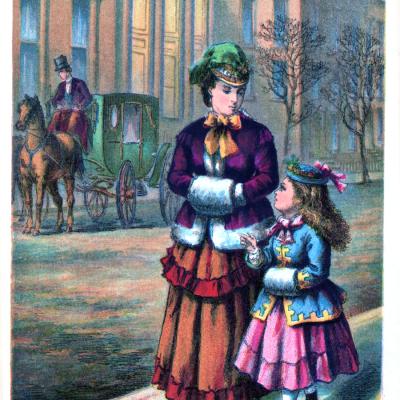 Vintage Image Download – Mother and Daughter walking on sidewalk