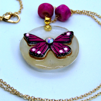 Pink butterfly pendant with necklace chain