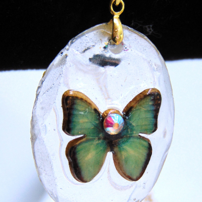 Blue-green butterfly pendant with necklace chain